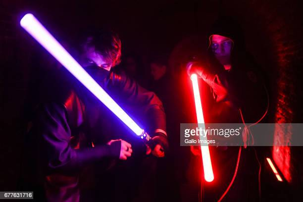 People disguised as characters from Star Wars movie seen during the STAR WARS Day on May 01 2017 at Nowy Fort in Warsaw Poland The event for famous...