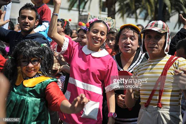 People disguised as characters of famous Latin American TV series El Chavo del Ocho starred by Mexican artist Roberto Gomez Bolaños aka Chespirito...