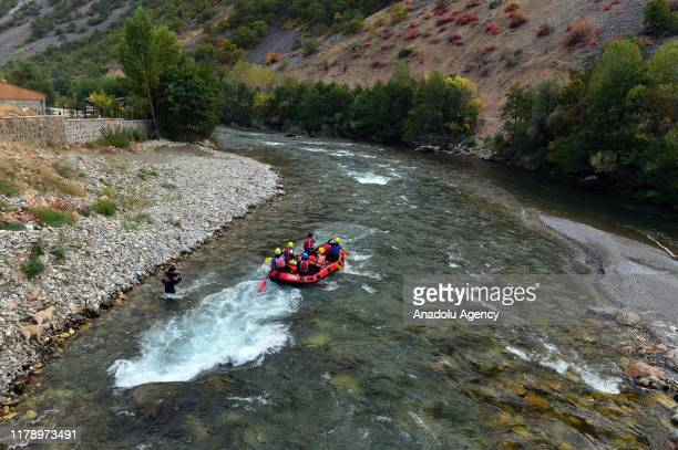People do rafting on the Munzur Stream at Munzur Valley National Park the largest and the most biodiverse national park in Turkey in eastern Tunceli...