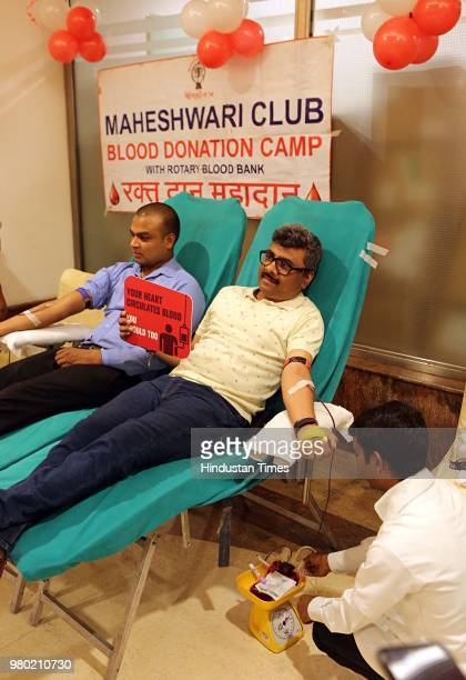 People donate blood during a blood donation camp organised by Aarone Group along with Select Citywalk one of the most popular shopping malls in Delhi...
