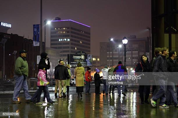 people downtown spokane at night - spokane stock pictures, royalty-free photos & images