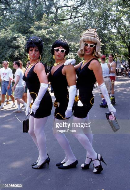 People dress up for Wigstock in 1993 in New York.