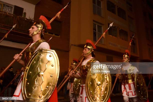TORREDEMBARRA CATALONIA SPAIN People dress up in traditional outfit seen during the event Penitents who celebrate Easter with the procession of the...