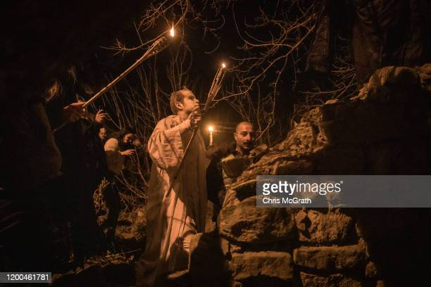 People dressed as ghouls ghosts and zombies walk through the streets of Camlica Village during the Bocuk Festival on January 18 2020 in Edirne Turkey...