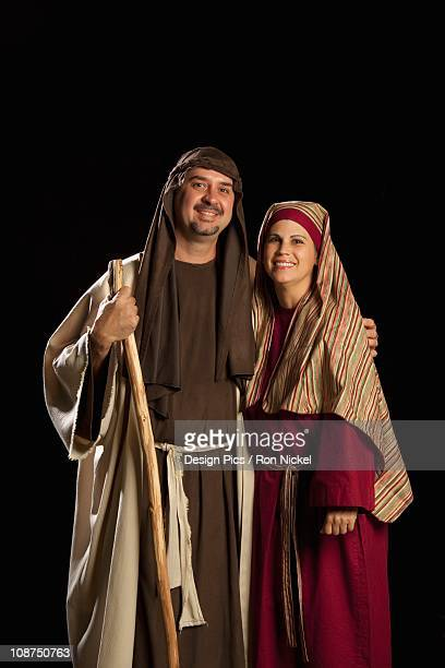 people dressed as mary and joseph - joseph husband of mary stock pictures, royalty-free photos & images