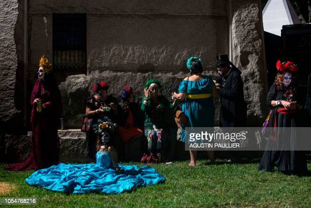 People dressed as the Catrina the Mexican traditional representation of death attend Hollywood Forever Cemetery's 19th annual Dia De Los Muertos...