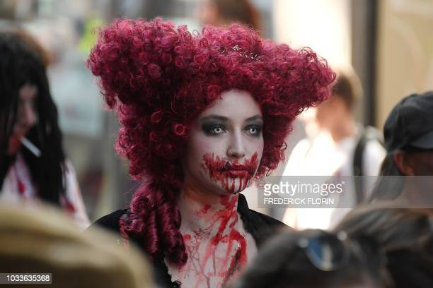TOPSHOT People dressed as zombies take part in the Zombie Walk event on September 15 2018 in the eastern French city of Strasbourg within the...