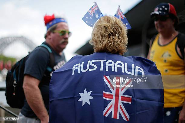 People dressed in Australiana attire celebrate Australia Day on January 26 2016 in Sydney Australia Australia Day formerly known as Foundation Day is...