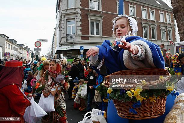 People dressed in costumes celebrate the traditional fat thursday on February 27 2014 in Bonn Germany Beueler Weiberfastnacht is traditionally...