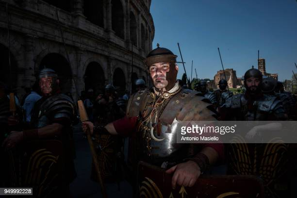 People dressed in period costume of Ancient Rome take part in a parade to celebrate the 2771st anniversary of the foundation of Rome on April 22 2018...