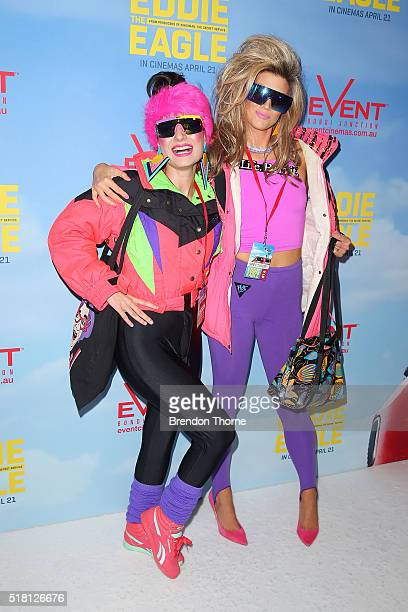 People dressed in ski gear pose ahead of the Eddie The Eagle screening at Event Cinemas Bondi Junction on March 30 2016 in Sydney Australia
