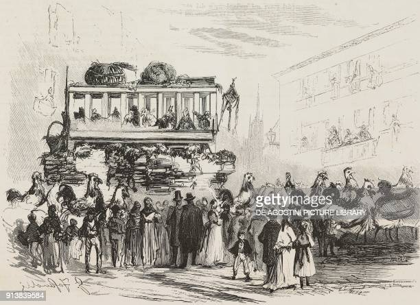People dressedup as chickens on the wagon La Stia winner of the 1875 Big Carnival in Milan Italy illustration from the magazine L'Illustrazione...
