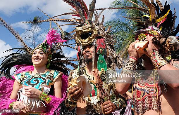 people dressing as aztecs indians - mexican fiesta stock pictures, royalty-free photos & images