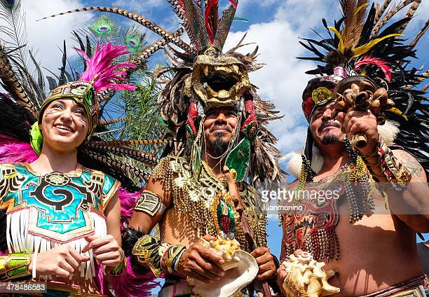 people dressing as aztecs indians - indian cleavage stock pictures, royalty-free photos & images