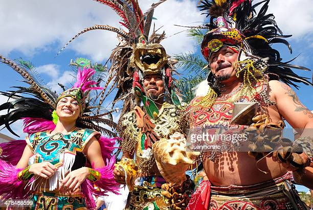 people dressing as aztecs indians - aztec civilization stock photos and pictures
