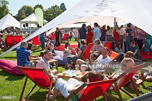 People drinking and relaxing: Rekorderlig exhibit, Taste of Edinburgh
