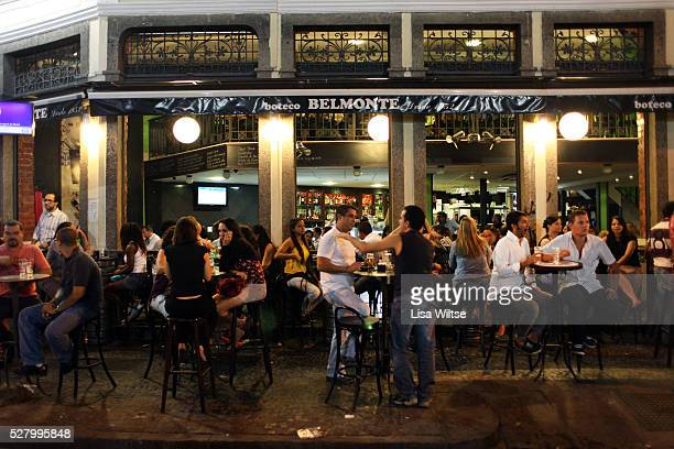 JANEIRO BRAZIL August 23 People drinking on Rua do Lavradio in Lapa Rio's popular nightlife district in Rio de Janeiro Brazil on August 23 2010 Photo...