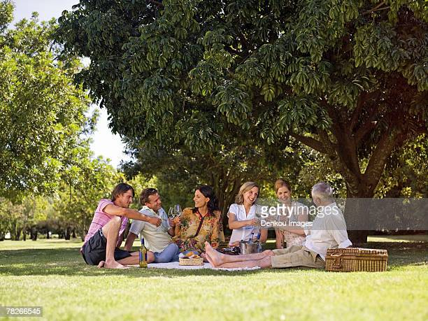 People drinking wine at a park.