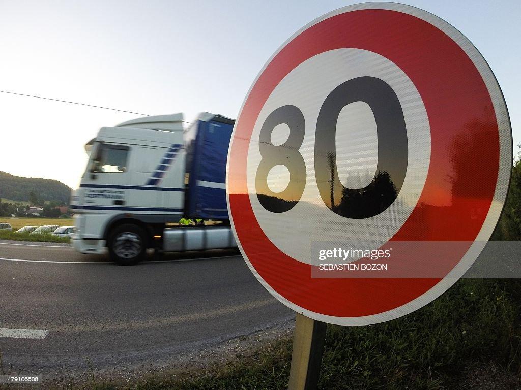Image result for 80 speed limit sign trucks