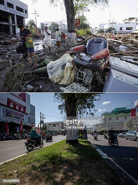 In this composite image a comparison has been made between a scene in 2004 and 2014 Acehnese walk amid dead bodies and debris thrown around by a...