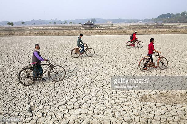 People drive bicycle on deep cracks field as rise of sealevel causes deep cracks by leaving salt on ground after evaporation in Satkhira Bangladesh...