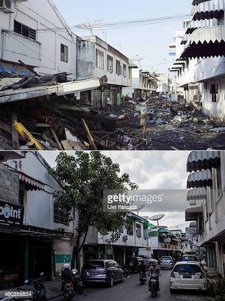 In this composite image a comparison has been made between a scene in 2004 and 2014 A man looks for relatives amid dead bodies and debris thrown...