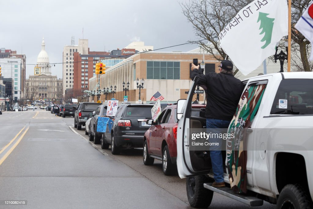 Michigan Conservative Coalition Holds Vehicle Rally Calling For Opening Of State's Economy : News Photo
