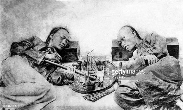 Circa 19th century, Opium smokers in ancient China