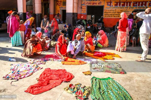 People dry their clothes after take holy bath in Ganga river at Har ki Pauri in Haridwar Uttrakhand India on 8th Feb 2018According to hindu culture...