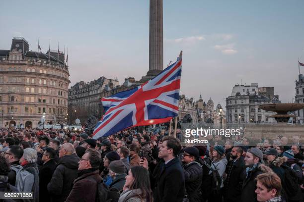 People during a candlelit vigil at Trafalgar Square on March 23 2017 in London England Four People were killed in Westminster London yesterday in a...