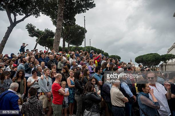 People during a military parade to mark the 70th anniversary of the Italian Republic on June 2 2016 at Piazza Venezia in Rome Italy