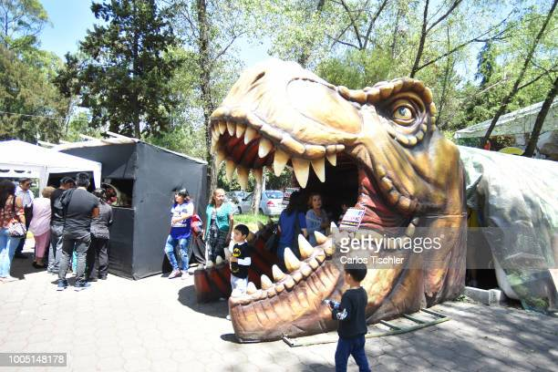 A animatronic of Apatosaurus looks during a tour as part of the exhibition 'Dinasaurios Animatronicos' at Parque Naucalli on July 21 2018 in...