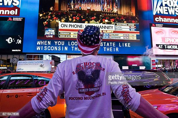 People during the night of election in Times Square Finally after the wait Donald Trump wins the presidency