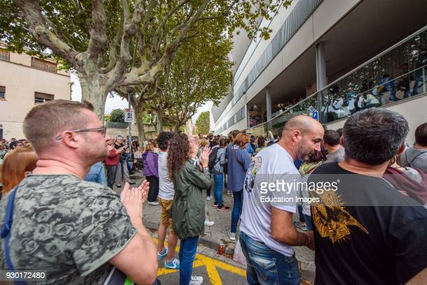 People during the referendum of independence of Catalonia in Mataro Barcelona Catalunya Spain