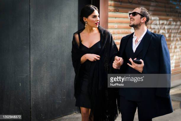 People during the Street Style At Dolce & Gabbana Fashion Show, during the Milan Fashion Week, in Milan, Italy, on February 23, 2020