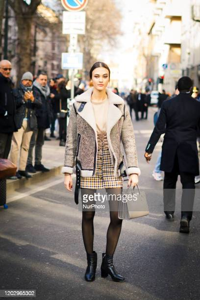 People during the Street Style At Dolce amp Gabbana Fashion Show during the Milan Fashion Week in Milan Italy on February 23 2020