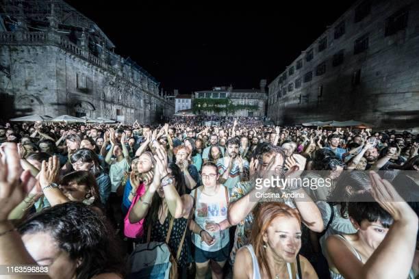 People during Xoel López perfoms on stage on July 21, 2019 in Santiago de Compostela, Spain.