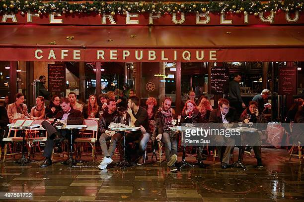 People eat and drink at the 'cafe republique' on November 17 2015 in Paris FranceParis remains under heightened security following terrorist attacks...