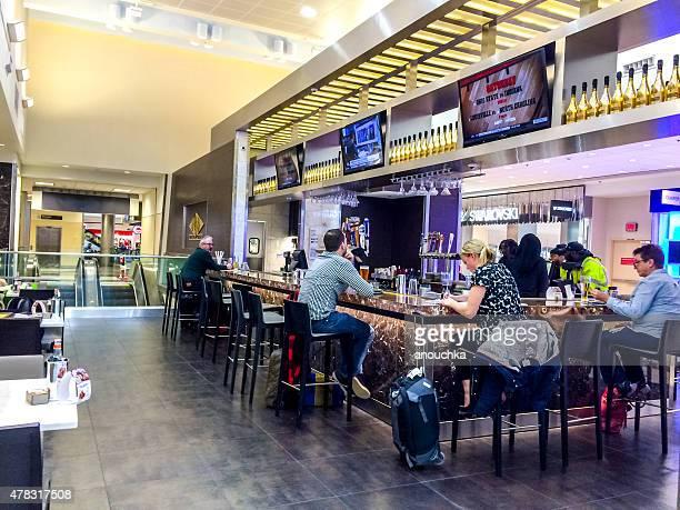 People eating and drinking at Atlanta Airport, USA
