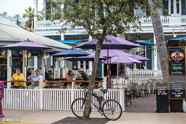 People eating in a cafe on Key West, Florida, USA