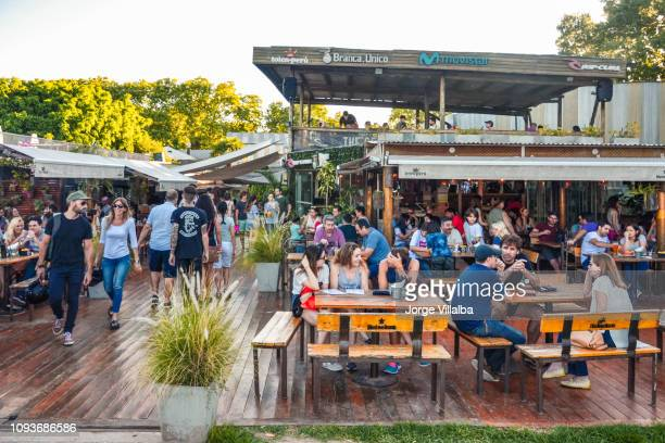 People eating out and having fun at the costanera of Buenos Aires