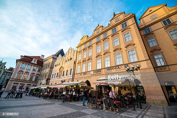 People eating outdoors in Prague