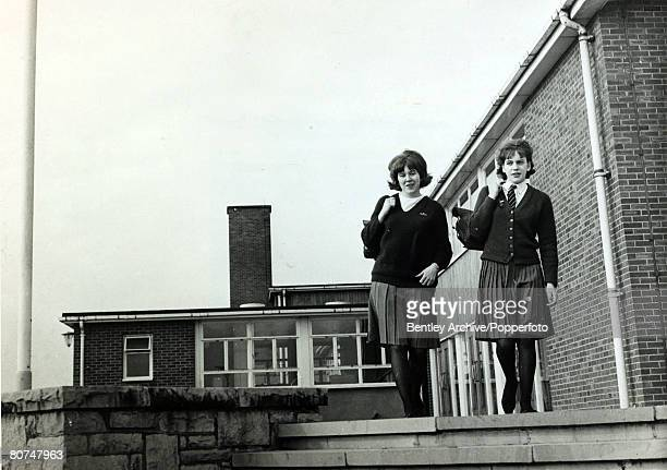 April 1964 Schoolgirls leaving Bell Green Secondary School Stoke on Trent
