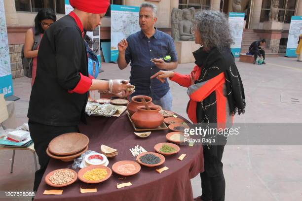 People enjoing the Indus Valley foods on February 20 2020 in New Delhi India What did humans eat 5000 years ago in one of the earliest human...