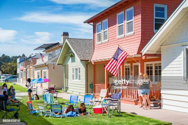 people enjoy a labor day picnic - labor day stock pictures, royalty-free photos & images