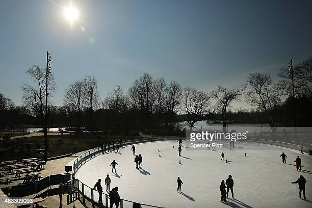 People enjoy a new ice rink at the Samuel J. And Ethel LeFrak Center following on a sunny winter afternoon in Prospect Park January 17, 2014 in the...