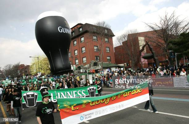 People enjoy a parade as part of the St. Patrick's Day celebrations on March 17, 2007 in Seoul, South Korea. St Patrick's Day is Ireland's National...