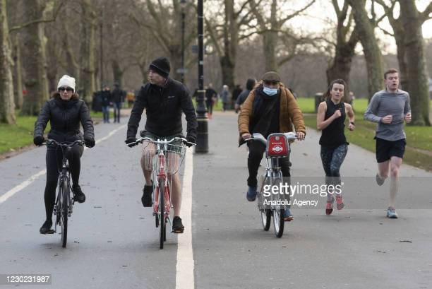 People enjoy activities in Hyde Park as London was placed in Tier 4 measurements starting today due to the rapid rise of Covid-19 infections in...