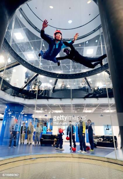 People enjoy at indoor skydiving facility 'FlyStation' on May 1 2017 in Koshigaya Saitama Japan