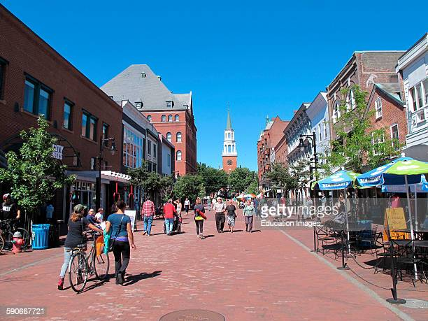 People enjoy Church street in Burlington Vermont